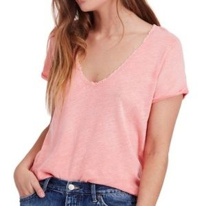 We the Free Coral Saturday Lace Trim Line Tee